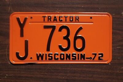1972 Wisconsin Tractor License Plate # 736 - Excellent Original Condition
