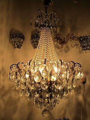 Antique Vnt French HUGE Spider Style Crystal Chandelier 1940s 19in dmtr Rare ***