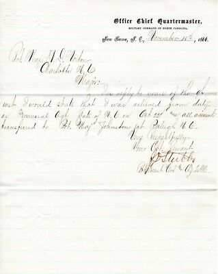 1866, Refugees and Freedmen's Bureau, Lt. Colonel Joseph Stubbs, signed letter