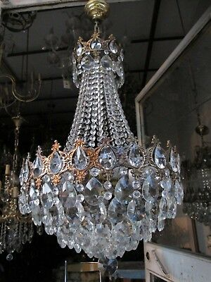 Antique Vnt French HUGE Basket Style Crystal Chandelier Lamp 1940's 17in Diametr