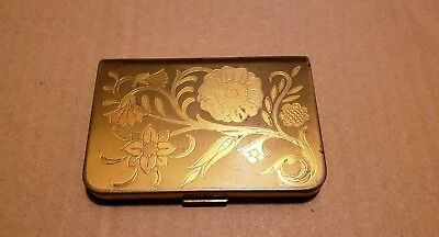 Vintage Wadsworth Powder Compact with Floral Engraving