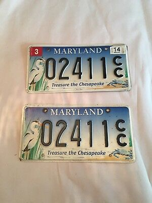 """MARYLAND """" CHESAPEAKE - WILDLIFE HERON  """" MD Specialty Graphic License Plate Set"""