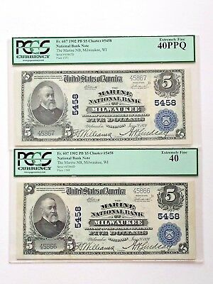Wisconsin Milwaukee 1902 Consecutive Sn $5 National Banknotes