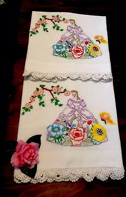 WOW! Hand embroidered Vintage dsgn Southern Belle Lady pillowcases UNUSED