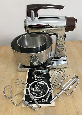 Vintage Sunbeam Mixmaster Chrome Stand Mixer 12 Speed, 2 Bowls & Beaters