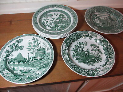 8 Spode Archive Collection Georgian Series Green Dinner Plates, Willow, others