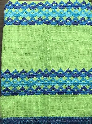 Vintage Pair Retro MCM Blue Green Cafe Kitchen Curtains Blue Fringe Linen Like