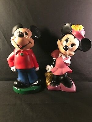 "Set of 2 Mickey and Minnie Mouse Plastic Figure Banks 11"" Tall Walt Disney"