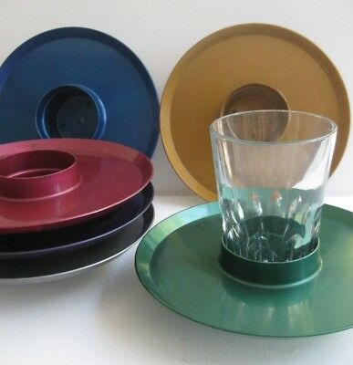 6 retro vintage M & C plastic SAVOURY - DRINK HOLDERS - TRAY anodised CUP holder