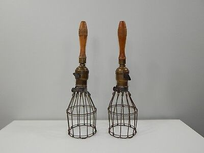 VINTAGE Trouble Light Wire Cages with Wooden Handles Industrial Set of 2