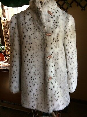 f617b7efb1ce Vintage Womens Faux Fur Coat Jacket by Dubrowsky & Perlbinder Size 14 Print  EUC
