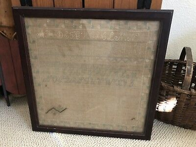 Vintage Wooden Framed Cross Stitched Embroidered 19Th Century Alphabet Sampler