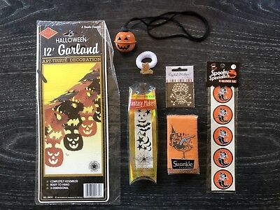 Vintage Halloween Mixed Lot 40+ Trick Or Treat Games Mask Stickers Ribbon+