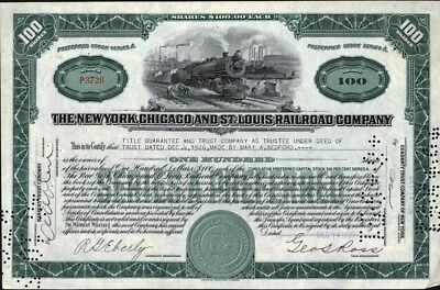New Dyork, Chicago And St. Louis Railroad Co, 1926 Stock Certificate