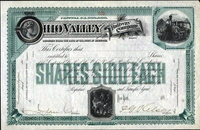 Ohio Valley Railway Co, Kentucky, 188-, Partly Issued Stock Certificate