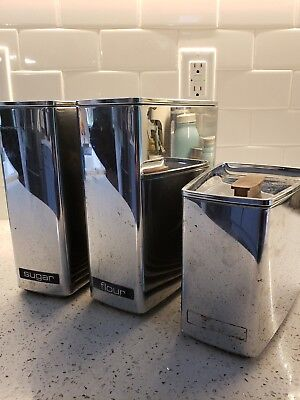 Set of 3 Vintage Lincoln Beautyware Chrome Metal Canisters