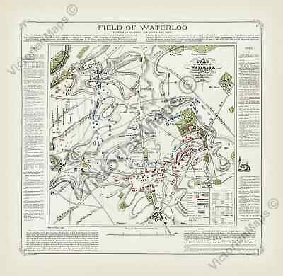 Field of Waterloo Battle antique plan Victorian map Cotton 1854 art print poster