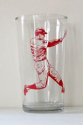 1975 Red Baseball Player Kraft Cheese Swanky Swig Glass Tumbler-Excellent