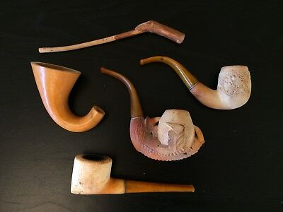 LOT of VINTAGE HAND CARVED MEERSCHAUM Pipes Eagle Dragon Claw Talons TURKEY