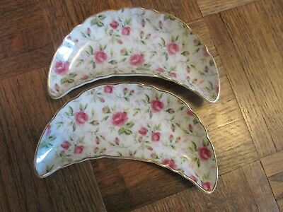 "Vtg Fine Bone China. Lefton ""Rose Chintz NE793R-N"" Bone Dishes. Set of 2."