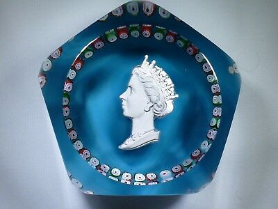 Saint Louis Queen Elizabeth Coronation Sulphide Glass Paperweight