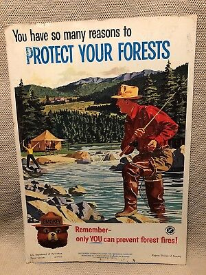 "Original Vintage 1961 Smokey Bear Usfs Forest Fire Prevention Poster ""fishing"""