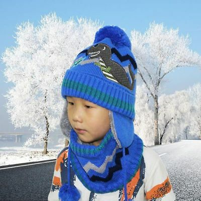 Thick Warm Winter Hats Beanies Caps For Boy Girl Wool Scarf Hats Balaclava dda9a3690cd1