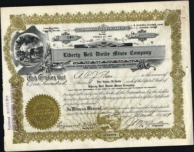 Liberty Bell Divide Mines Co., Tonopah, Nv, 1919, Uncancelled Stock Certificate