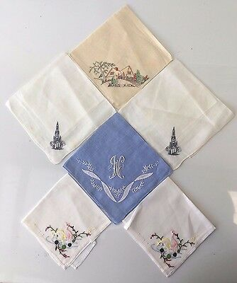 6 Vintage Cotton Ladies Handkerchiefs, Hemmed & Delicately Handstitched