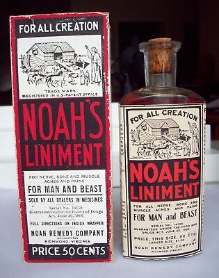 Noah's Liniment Bottle & Box, Colorful Label Shows Animals Getting onto the Ark