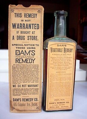 Labeled Cure Bottle & Box, Dr. Dam's Vegetable Remedy, Boston, MA