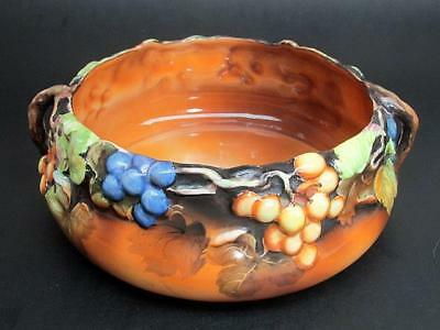 Antique Nippon Hand Painted Molded Relief Grape Vine Majolica Handled Bowl c1911