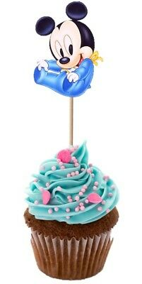 Set of 12 BABY MICKEY MOUSE CUPCAKE PICKS Toppers Party!!!