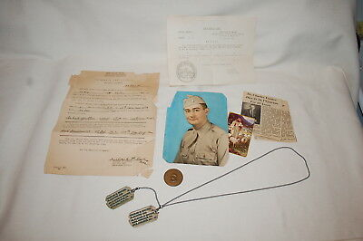 Dog Tags with Chain, Paperwork and Named Legion of Honor Medal Group