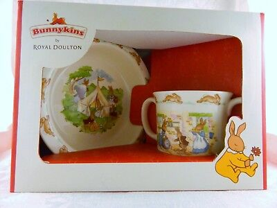 Royal Doulton Bunnykins Two Piece Set, Double Handled Cup & Bowl