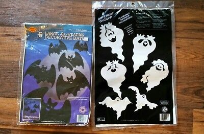 The Beistle Co. 6 New Large Black Bats And 6 Large Ghost Halloween Decorations