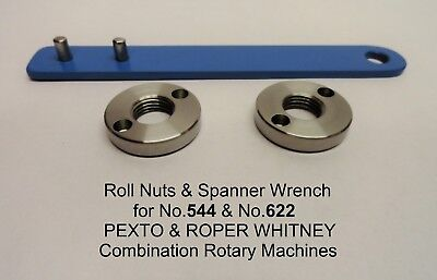 2 Roll Nuts & Spanner Wrench for Pexto & Roper Whitney Rotary Machines