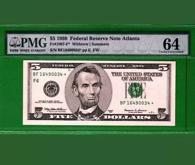 United States 1999 federal reserve 5 dollar note Atlanta (PMG 64 ) Choice Unc