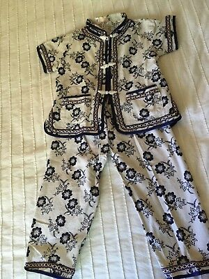 Vtg Pajamas for Child GOLDEN DRAGON Raw Silk Made in China UNUSUAL Size 4