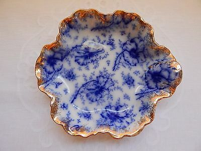 Warwick Flow Blue China Handled Dish Blue Pansy Gold Trimmed Scalloped Edge