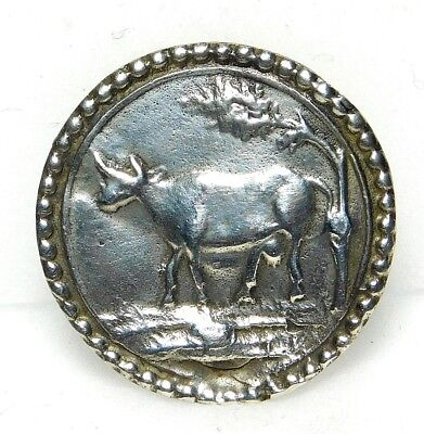 Antique Button Stamped UNMARKED Silver COW 13/16 A71