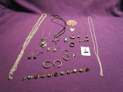 Jewelry Mixed Lot Sterling Silver All Pieces Marked 1 Mustard Pot Lid