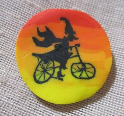 AMAZING HAND-CRAFTED POLYMER CANE BUTTON - WICKED WITCH ON HER BICYCLE 7/8th
