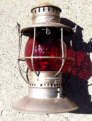 1895 BRASS TOP CM&StP RAILWAY RED CAST GLOBE RAILROAD BELL BOTTOM LANTERN EARLY!