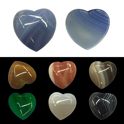 1Pc Natural Stone Carved Heart Gemstone Agate Healing Crystal Rock Collectible