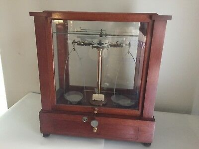 Antique Christian Becker Analytical Balance w Drawer, Original Weights and Tools
