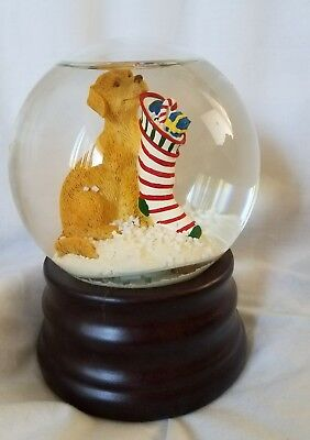 Christmas COLLECTIBLE Snow globe Golden Retriever Stocking Eddie Bauer