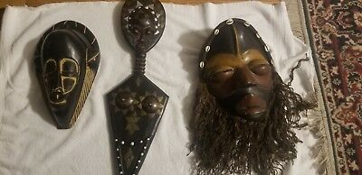 Lot of 3 Large Handcrafted Wooden African Tribal Folklore Masks