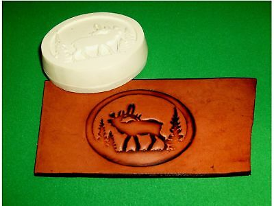 "Elk In Oval Leather Emboss Plate  3"" x 2 1/4""  Wildlife"
