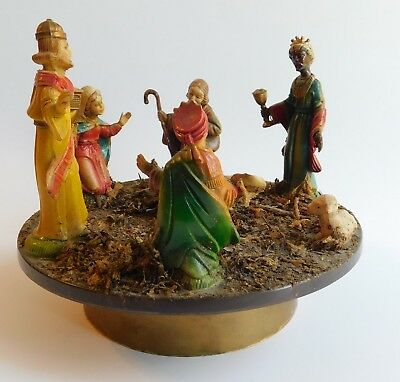 Vintage Antique Plastic Hand Painted Nativity Rotating Musical Box Stand